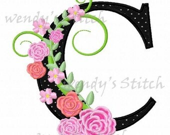 set of 26 flower applique rose letters machine embroidery design instant download