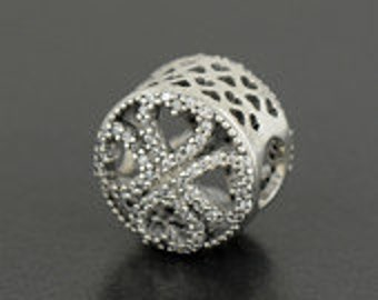 Authentic Pandora Sterling Silver Petals of Love CZ Bead