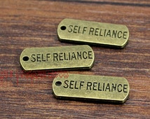 20pcs--Self Reliance charms, Antique Bronze Self Reliance Charm Pendant  21x8mm
