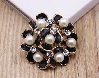 2 - Black Clear Rhinestone Crystal Pearl Flower design