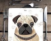 Pug personalised dog placemat/coaster