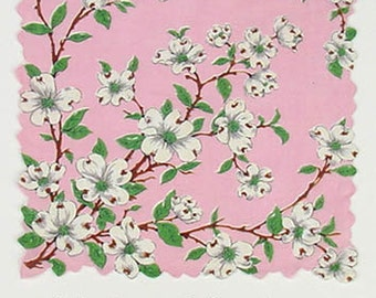 Vintage Franshaw Pink with White Dogwood Blooms Handkerchief (Inventory #M2247)