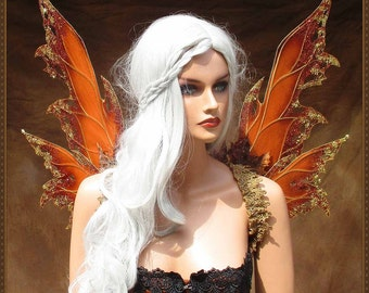 Adult Fairy Wings**Autumn Opaque Pumpkin/Rust/Gold**FREE SHIPPING**Costume/Masquerade/Cosplay/Renn Faires/(Wings only)