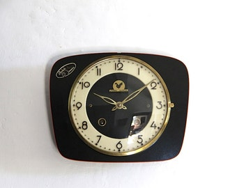 Vintage French Wall Clock Black and Red Formica Mid Century Retro