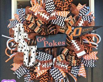 Oklahoma State wreath, sports deco mesh wreath, OSU Cowboys