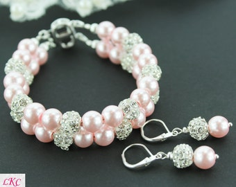 Blush Pink Bracelet - Blush Pink Wedding Jewelry - Pearl Cuff Bracelet - Blush Bridesmaid Jewelry Set - Blush Cuff Bracelet - Bridal Cuff