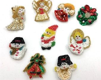 "Christmas Appliqués Set of 9 Assorted Pieces Sequin Beaded 1"" - 2"" - 0236"