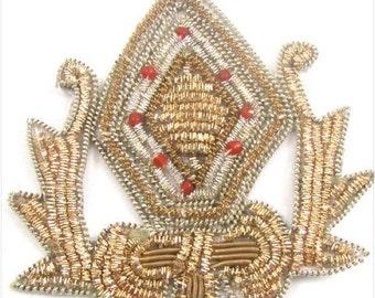 Sale! Bullion Thread Crest Patch Appliqué with Red Beads -Gold-3495c, Bronze-4395c