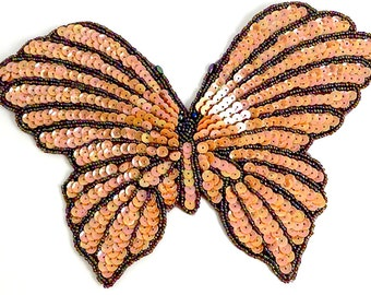 "Choice of Color Butterfly Applique, Sequin Beaded, 9"" x 6""  -Orange-B340-B201, Iridescent-B292"