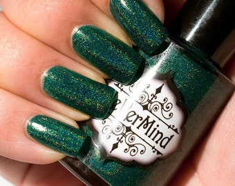 Green Linear Holo Nail Polish - Holographic Nail Lacquer - Full Size 15ml Bottle - Xylophilia / Forest / Gifts for Her / Christmas