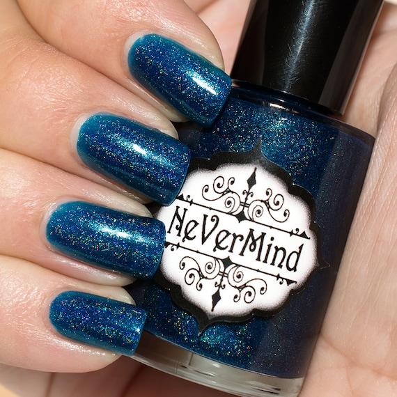 Dark Blue Holographic Nail Polish / Navy Holo Nail Lacquer