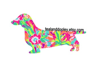 Lilly Pulitzer Inspired Dachshund Vinyl Decal