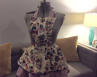 Americana Vintage Inspired Apron with Glass embelished studs