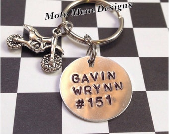 Personalized Motocross Keychain - Motocross - Dirt Bike Keychain - Custom Keychain - Racing - Dirt Track Racing - Personalized