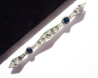 Antique Art Deco Bar Pin Blue Stones Vintage Estate Jewelry