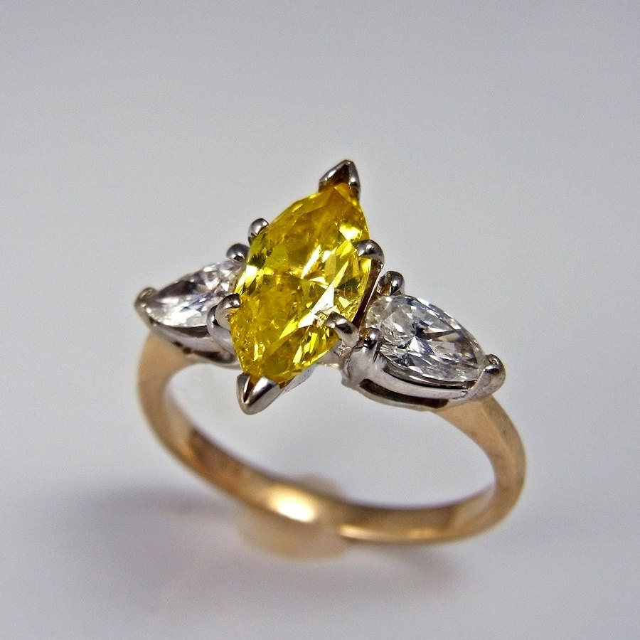 RESERVED MIKE Canary Yellow Diamond Engagement Ring Yellow