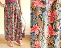 Vintage 1980s Maxi Skirt | Tropical Print Beach Wrap Skirt | Floral Wrap Holiday Sarong | Hawaiian Boho Hippie Sarong | Retro Pin Up. S UK10
