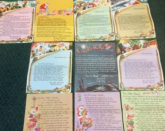 Set Of 10 Different Christmas Letters From Santa To Your Favorite Youngster, Full Color, Copies From Original 1950's Set