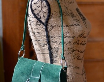 JERRY MOSS ~ Chicago Vintage Green Suede Handbag