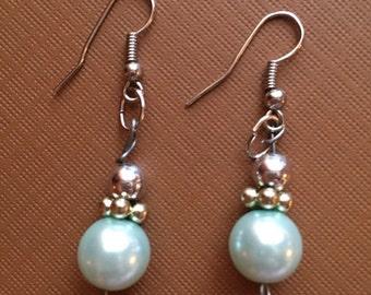 Mint green pearl and silver earrings, handmade pearl earrings