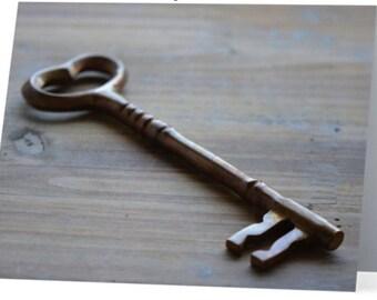 """Lovely Skeleton Key Greeting Card Blank Inside - 5.5"""" X 4"""""""