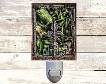 """Night Light, """"Fleur De Lis"""",  Handmade, Copper Foiled, New Orleans art"""