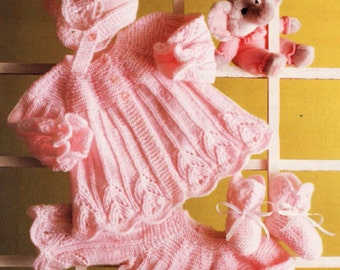Vintage Knitting Pattern  Baby Matinee Coat Dress Bonnet and  Bootees PDF