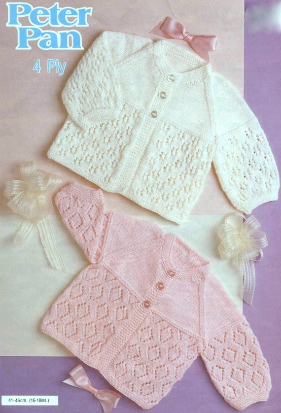 Vintage Baby Cardigan Knitting Pattern : Vintage Knitting Pattern Baby Cardigan Matinee Coat Jacket