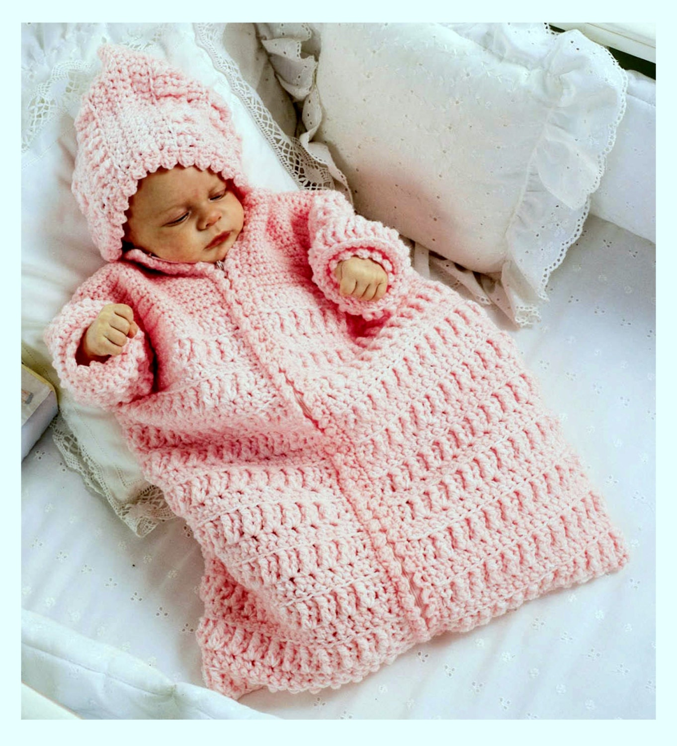 Vintage Crochet Pattern Baby Sleeping Bag Cocoon Sleep