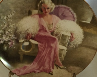 C013  Jean Harlow, Dinner at 8,collectors plate from W. S. George  with certificate