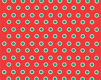 Red with green and white polka dots craft  vinyl sheet - HTV or Adhesive Vinyl -  polka dot pattern HTV268