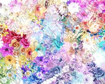 Floral pattern printed craft  vinyl sheet - HTV or Adhesive Vinyl -  watercolor effect  HTVWC10