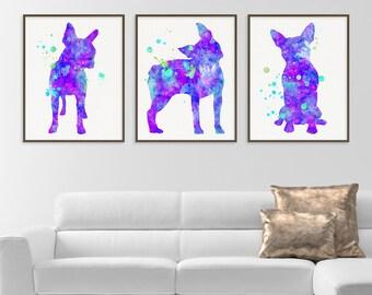 Boston Terrier Art, Set of 3 Prints, Watercolor Boston Terrier, Boston Terrier Print, Boston Terrier Painting, Dog Lover Gift, Pet Lover