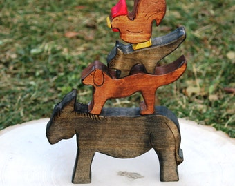 Wooden Bremen Town Musicians - Natural Eco Friendly Waldorf Wooden Toy Storytelling Set