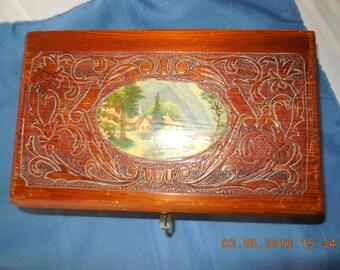 Handmade vintage wooden keepsake box.