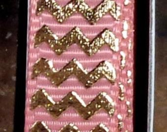 "2 Yards 3/8"" Blush - Dusty Rose with Gold Foil Chevron Print - U.S. Designer"