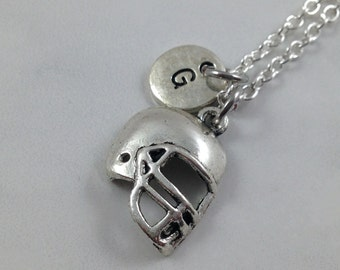 Football Helmet Necklace, Football Charm Necklace, Sports Necklace, Personalized Necklace, Initial Necklace, Initial Charm, Sports Jewelry