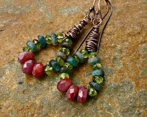 Ultra Gypsy Gemstone Dangles - Ruby, Peridot and Kyanite - Bohemian Vibe - Summer Style