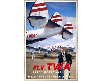 TWA Howard Hughes Trans World Airlines Lockheed Constellation Travel Poster Retro 1950's Plane Art -available in 4 sizes- Print 285