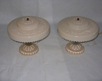 Vintage pair glass accent or large dresser lamps light pink and clear matching