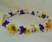 Renaissance Daisy Crown Boho Chic Flower Crown Bridesmaid Tiara Flower Girl Fairy Crown Wedding Golden Yellow, White, Purple