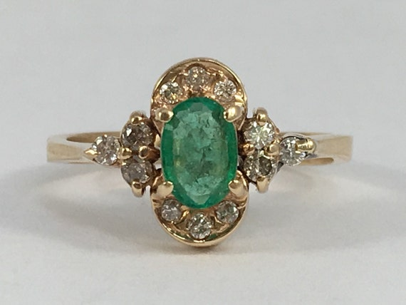 antique emerald and ring 14k yellow gold