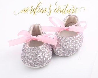 Baby Girls Shoes Silver Sequin Silver Glittery Sparkle Shoes Baby Crib Shoes Baby Shoes