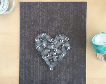 Quilling Paper Heart Gray and White Heart Home Decor, Dark Gray Valentine, Unique Heart, Nursery Decor, Heart Gift for Her, Emo Baby Gifts