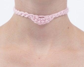 Pink Crochet Choker