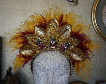 Circus / carnival showgirl sequin petal tiara feather fan headdress in red and gold