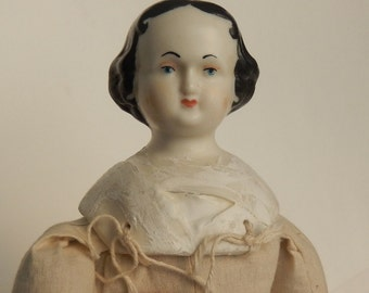 """Antique High Brow Bisque Doll Head ~ With Newer Body ~ 17"""""""