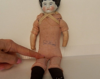 Antique German China Head Doll ~ For Parts ~ Repair ~ Or Left To Enjoy Her Primitive Look