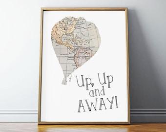 Hot Air Balloon Nursery, Nursery Decor, Up Up and Away, Vintage Map, Hot Air Balloon, Nursery Wall Art, PRINTABLE Art, 8x10 Digital Download