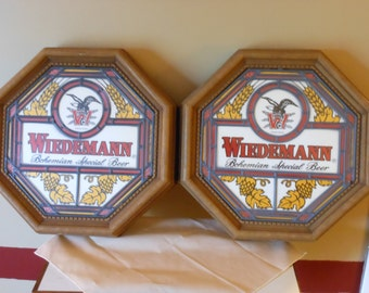 Two Matching Wiedemann Octagonal Bar Signs. Bohemian Special Beer.